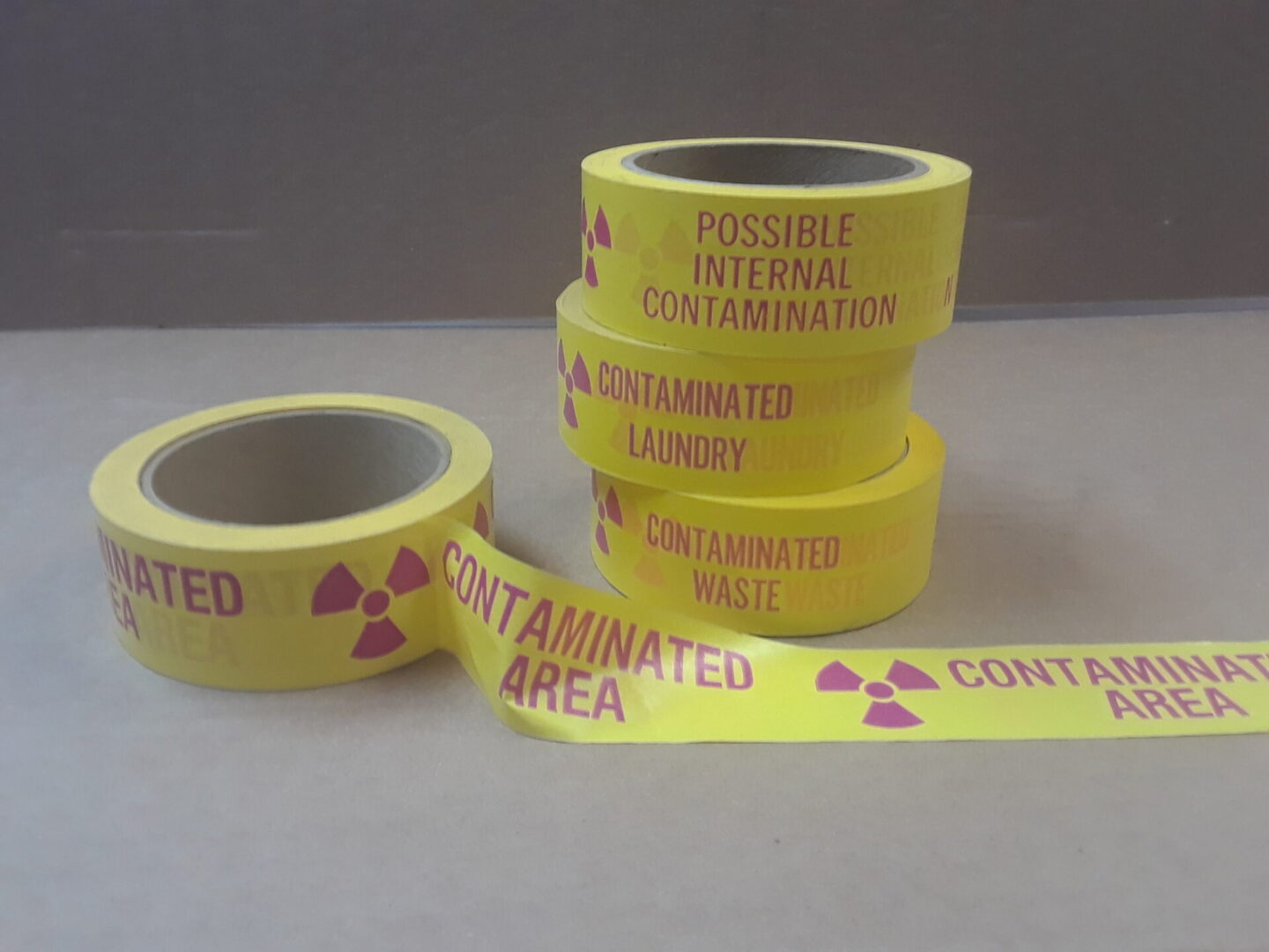 Tape line with contaminated area label